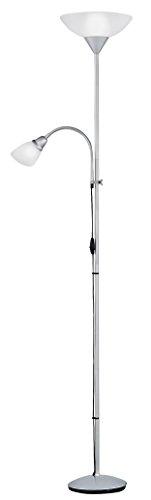 Reality Erzwo - Lámpara de pie con interruptor de cable y pie. Necesarias bombilla superior E27 de máximo 150 W y bombilla en lector E14 de máximo 40W excluidas, atenuación, metal