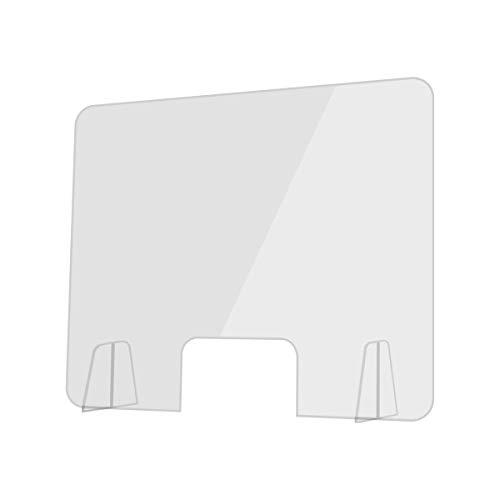 INTLPHARMACY Mampara de Metacrilato Mostrador 3mm Protección para Oficinas Mostradores Manicura Sobremesa Material Transparente (80 X 60 cm)
