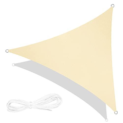 RATEL Toldo Vela de Sombra Triángulo Arena 5 × 5 × 5 m, protección 95% UV y Transpirable Impermeable, para Jardín, Patio, Exteriores, Pergola Decking