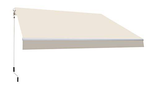 SmartSun Classic Toldo Completo 3x2m Color Crudo Lona poliéster. Estructura de Aluminio. Regulable en inclinación. Manivela incluida. Toldo terraza, Jardin, Balcon