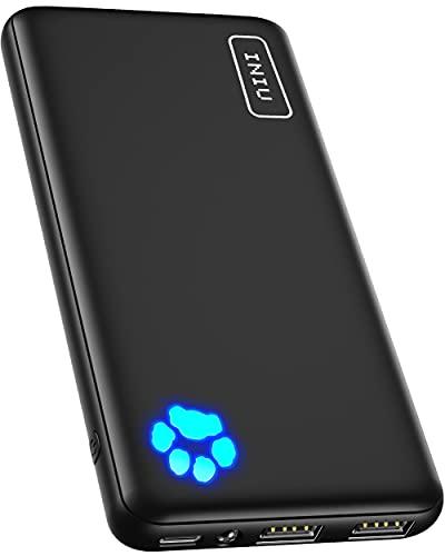 INIU Power Bank, 10000mAh USB C Triple 3A de Alta Velocidad Bateria Portatil Delgada, Bateria Externa Movil con Linterna para iPhone Samsung Xiaomi Huawei Google iPad Tablet etc