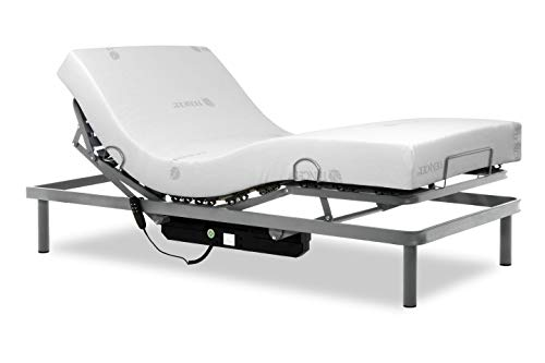 Gerialife Pack Cama articulada Reforzada 5 Planos con colchón viscoelástico Tencel | Fabricado en España (90x190, Mando por Cable)