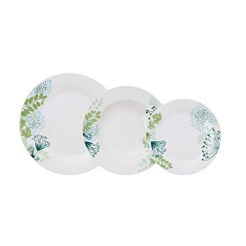Bidasoa Botanic Vajilla porcelana blanca decorada 18 piezas completa y moderna (platos llanos, hondos y postre)