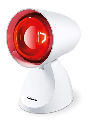 Beurer IL11 - Lámpara por infrarrojos compacta, 100 W, 5 niveles inclinación, alivio para dolores musculares, cervicales, mejora la circulación sanguínea, color blanco