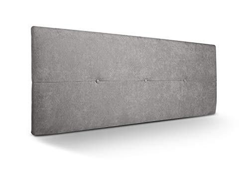 SuenosZzz-Cabecero tapizado acolchado Jazmin.Tapiceria Rio 2 Gris con tratamiento acualine antimanchas.Medida: 145 x 50 x 4 cm. Con capitone. Camas de 140 cm, 135 cm, 120 cm.Incluye herrajes