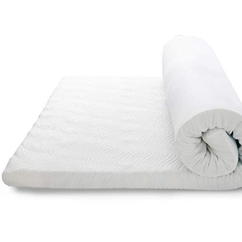 Bedsure Topper Viscoelástico Colchón 90x190x7cm - Sobrecolchon Memory Foam Antiestático con 1 Funda Extraíble y Lavable, Cubrecolchon Espuma con Efecto Memoria Hipoalergénico
