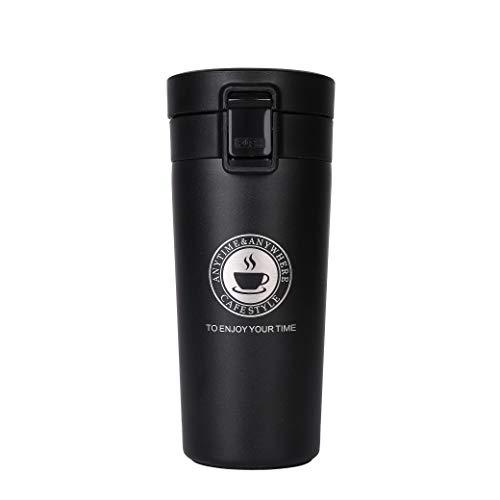 QIMEI-SHOP Termo,Termo de Café Matraz de Acero Inoxidable Aislado Diseño a Prueba de Fugas para Bebidas Frías y Calientes Bebidas té Café Agua 380ML Negro