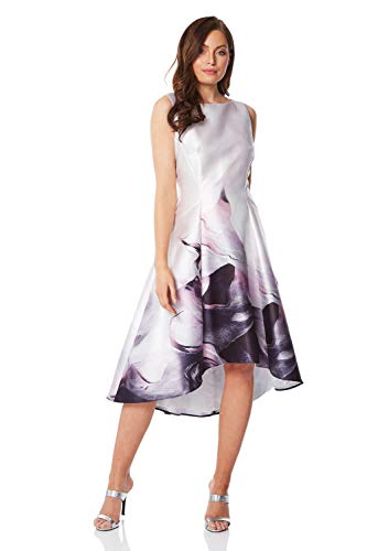 Roman Originals Vestido de mujer con estampado de mármol y dobladillo sumergido, cuello redondo, sin mangas, estampado floral, ocasión especial, invitada de boda, madre de la novia, vestido vintage