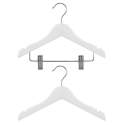 Hangerworld - Juego de 30 perchas para ropa infantil y de bebé (de madera, con y sin pinzas, 30 cm de ancho), color blanco