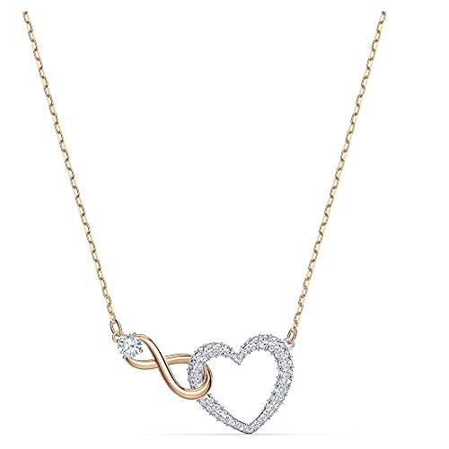 Swarovski Collar Swarovski Infinity Heart, blanco, combinación de acabados metálicos