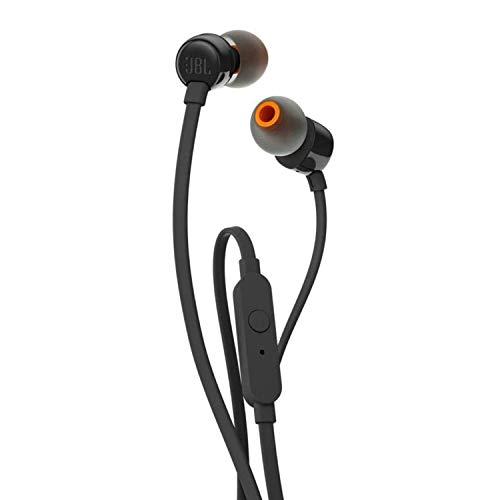 JBL T110 Auriculares In Ear con Pure Bass - Con manejo de un solo botón y micrófono, color negro