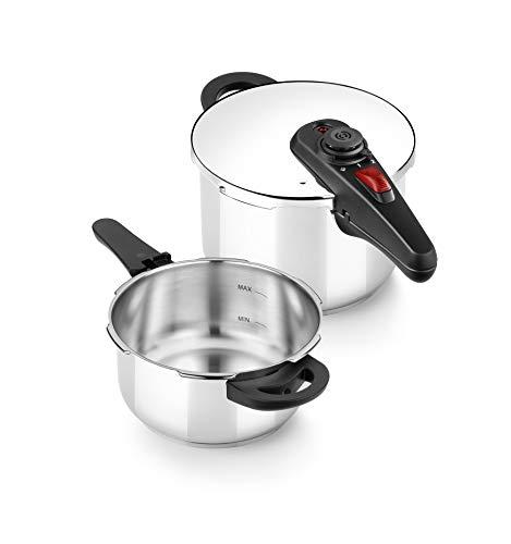 BRA Allure Set dúo de ollas a presión rápida 4+6 litros, acero inoxidable, apta para todo tipo de cocinas, incluido inducción [Amazon Exclusive]