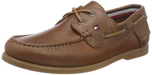 Tommy Hilfiger Classic Leather Boat Shoe, Zapatillas DE Piel CLÁSICO Hombre, De Color Caqui del Desierto, 45 EU