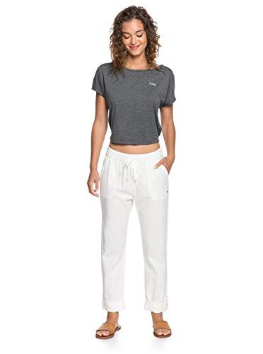 Roxy On The Seashore - Pantalón Elástico De Lino para Mujer Pantalón Elástico De Lino, Mujer, Snow White, XL