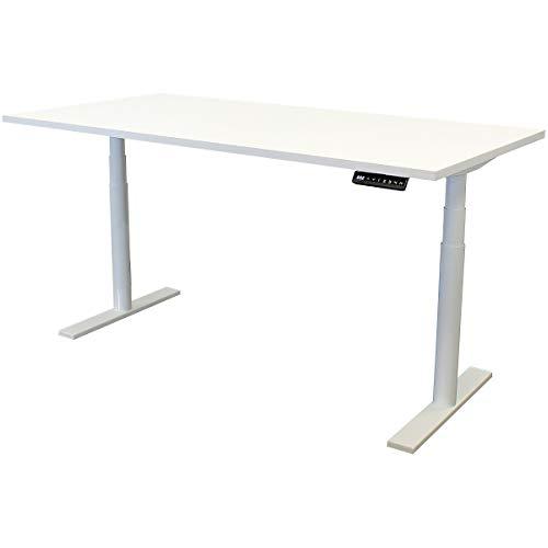 newpo escritorio de ajustable eléctricamente con tablero de mesa | 160 x 80 cm | blanco | mesa alta Escritorio de la oficina Marco de la mesa