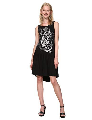 Desigual Dress Sleeveless Omahas Woman Black Vestido, Negro (Negro 2000), M para Mujer