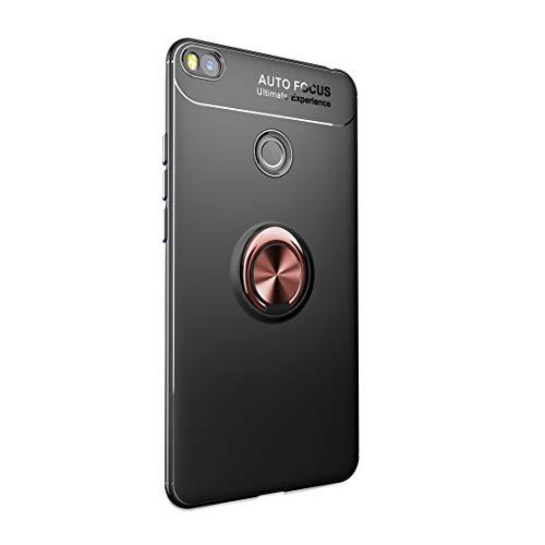 Funda Xiaomi Mi MAX 2 Carcasa Delgada Silicona Suave Negro TPU Case Anti-Arañazos, con Anillo Grip Kickstand y Soporte la función de Montaje Teléfono Case para Mi MAX 2 (Mi MAX 2, Negro + Rosa)