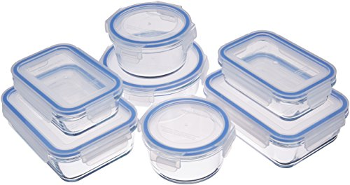 Amazon Basics - Recipientes de cristal para alimentos, con cierre 14 piezas (7 envases + 7 tapas), sin BPA