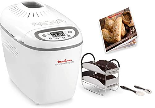 Moulinex OW6101 Home Baguette - Panificadora de 1650 W, 16 programas, sin gluten, hasta 1.5 kg, inicio programado, mantenimiento caliente, incluye bandejas para baguette, 2 aspas amasar y recetario
