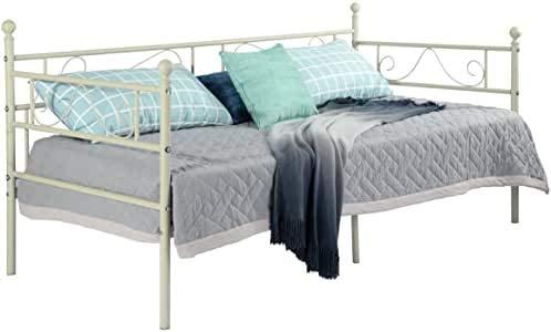 EGGREE Cama Metálica diván Cama Individual Marco de Cama para Niños Habitación Habitación Dormitorio Balcón Jardín Cama Blanco