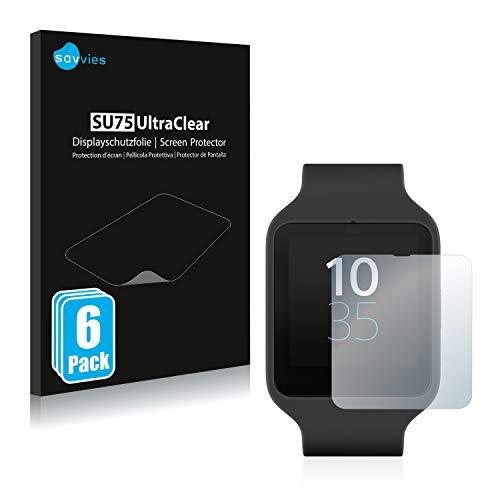 savvies Protector Pantalla Compatible con Sony Smartwatch 3 SWR50 (6 Unidades) Película Ultra Transparente
