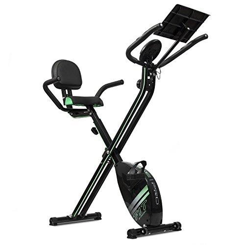 Cecotec Bicicleta Estática Plegable con Volante de Inercia de 2,5 Kg X-Bike Pro. Sistema Silence Fit, Respaldo, Manillar y Sillín Regulable, Pulsómetro, Pantalla LCD, Ruedas, Peso máximo 100 Kg