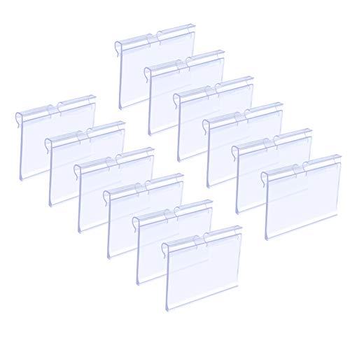 Matogle 70 pcs Porta Precios Transparente Soportes de Etiqueta de Precio Claro para Exhibición Titular para Tarjeta de Nombre Colgar en Estante de Alambre para Tiendas Mercería Oficina (1)