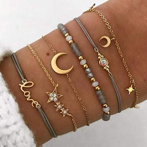 Edary Juego de pulseras de estrella y luna con cristales dorados personalizados, cadena hecha a mano, cadena de mano con cuentas para mujeres y niñas (6 unidades)