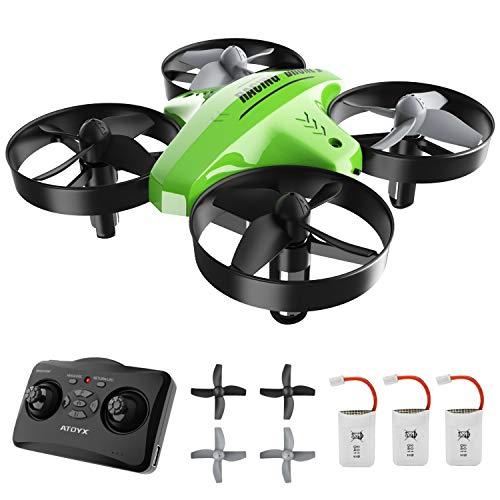 ATOYX Mini Drone para Niños, RC Helicopter Quadcopter AT-66C, 3D Flips, Modo sin Cabeza, Estabilización de Altitud, 3 Velocidades,3 Baterías, Regalo para Niños y Principiantes (Verde)