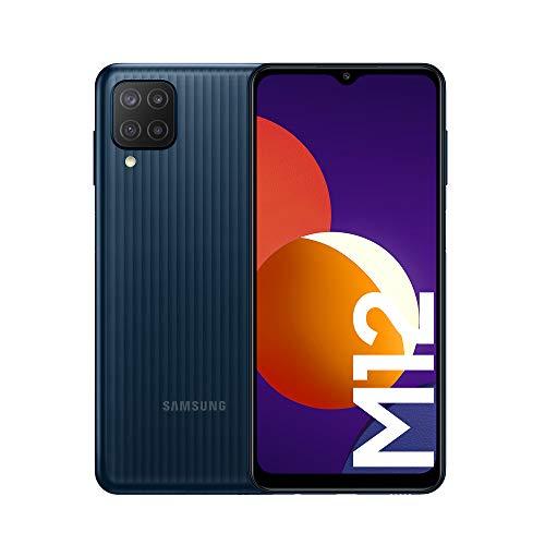 Samsung Smartphone Galaxy M12 con Pantalla Infinity-V TFT LCD de 6,5 Pulgadas, 4 GB de RAM y 128 GB de Memoria Interna Ampliable, Batería de 5000 mAh y Carga rápida Negro (ES Versión)