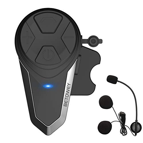 Intercomunicador Casco Moto, BETOWEY BT-S3 Bluetooth Auriculares Manos Libres para Casco Moto 1000m (1*BT-S3)