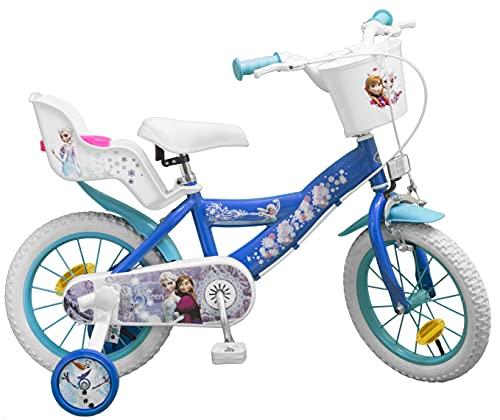 TOIMS Reina de Las Nieves: Bicicleta para niña, Color Azul, tamaño 14 Pulgadas