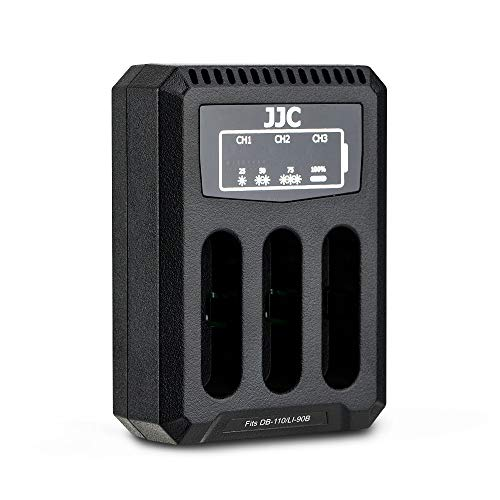 JJC USB Triple Cargador de Batería para Ricoh GRIII, WG-6, Olympus Tough TG-6, TG-5, TG-4, TG-3, TG-2, TG-1, Stylus X-Z2 iHS, SP-100 Cámaras para Ricoh DB-110, Olympus LI-90B