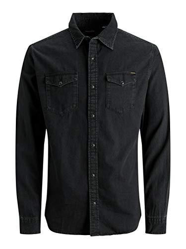 Jack & Jones Jjesheridan Shirt L/s Camisa Vaquera, Negro (Black Denim Fit:Slim), X-Large para Hombre