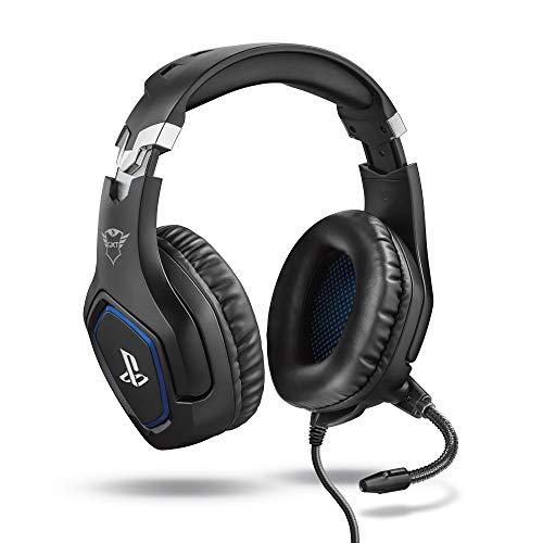 Trust Gaming Cascos PS4 y PS5 Auriculares de Gaming GXT 488 Forze, Licencia Oficial para PlayStation, Micrófono Plegable, Altavoces Activos de 50 mm, Cable Trenzado de Nailon de 1.2 m, Negro