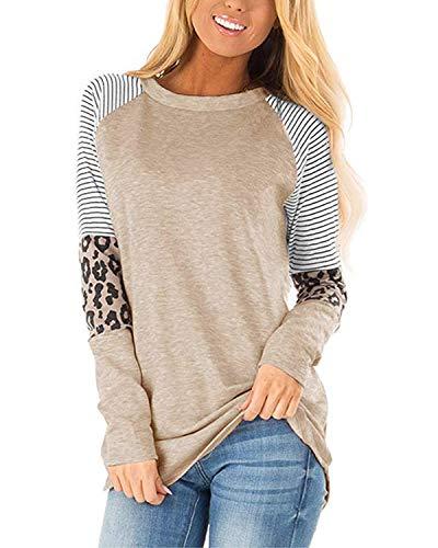 CNFIO Camisetas Mujer Manga Corta Leopardo Raya Cuello Redondo Blusas para Mujer Suelta Tops Mujer Fiesta