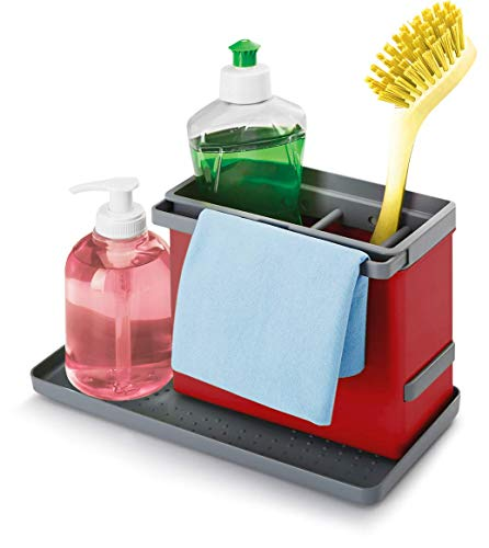 Metaltex Tidy-Tex - Organizador Modular de Limpieza de Cocina, Rojo