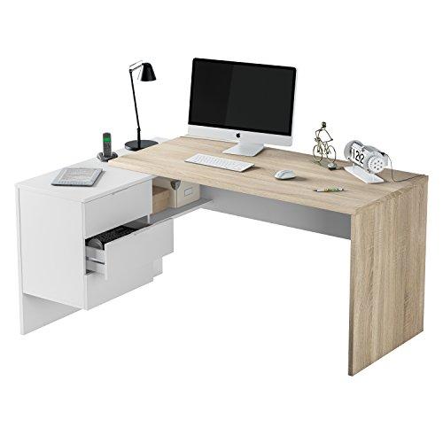 Habitdesign Mesa Despacho 3 Cajones, Mesa Office, Ordenador, Modelo BUC, Acabado en Blanco Artik y Roble Canadian, Medidas: 73 cm (Alto) x 145 cm (Ancho) x 108 cm (Fondo)