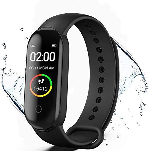 Reloj Inteligente,Pulsera de Actividad física,Monitores de Actividad,Reloj Deportivo de Salud con Monitor de Frecuencia Cardíaca y Sueño,Contador de Calorías,Podómetro,Notificación de Mensajes,Negro