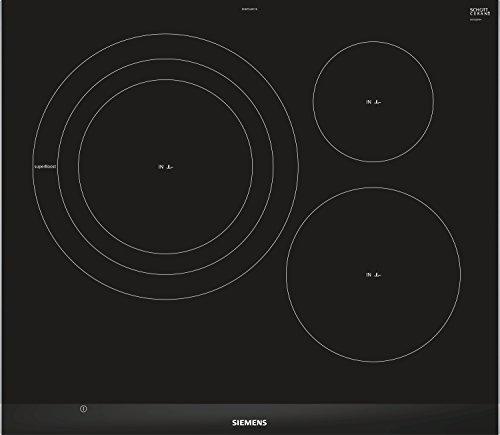 Siemens H675LDC1E Placa de inducción, 60cm ancho, Diseño topClass, Color negro