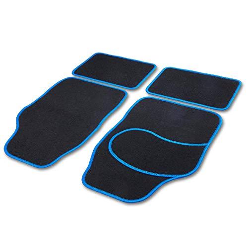 Cartrend 10599 - Alfombrillas universales para Coche (4 Piezas, Hilo Brillante), Color Azul