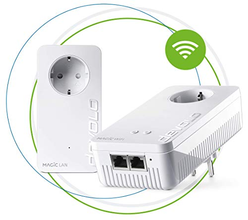 devolo Magic 2 – 2400 WiFi ac next Starter Kit: Set estable con 2adaptadores Powerline para WiFi de malla en habitaciones, óptimo para streaming (2400Mbit/s, 3 x conexiones Gigabit LAN, AP Steering)