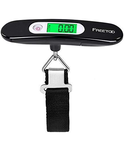 FREETOO Digital Balanza Báscula de Equipaje - LCD Portátil Escala de Equipaje 110 lb/50 kg Capacidad Batería Incluida para Viajes Al Aire Libre (Negro)