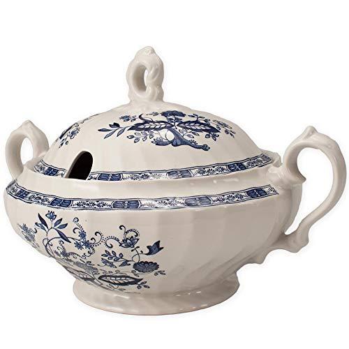 FranquiHOgar Sopera de Porcelana con Tapa, Bowl para sopas Clásica con Dibujos Azul | Churchill
