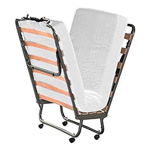 Cortassa - Cama plegable con colchón de espuma viscoelástica Memory Foam de 10 cm - Somier individual con listones de madera de 80 x 200 cm - Cama ahorra espacio con ruedas