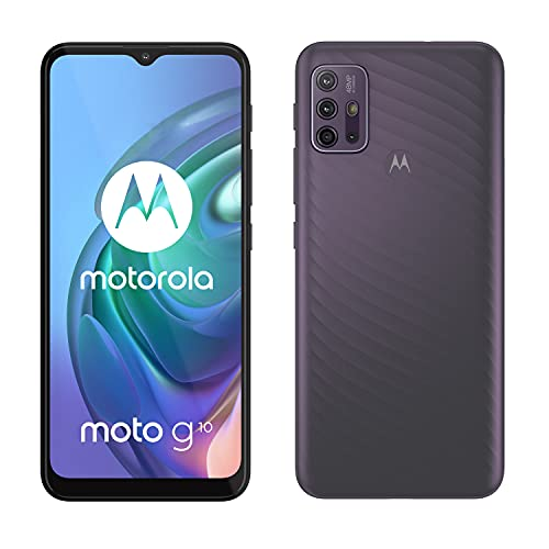 Motorola Moto g10 (Pantalla de 6.5' Max Vision HD+, Qualcomm Snapdragon, sistema de 4 cámaras de 48MP, batería de 5000 mAH, Dual SIM, 4/64GB, Android 11), Gris [Versión ES/PT]