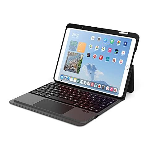 ByDiffer Funda Teclado Compatible con iPad de 10,2 Pulgadas de 8.a generación (2020), 7.a generación, Air 3, Pro 10.5 con Panel táctil y 2 Tipos de Porta lápices de Apple