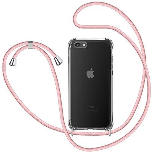 Funda con Cuerda para iPhone 6 Plus / 6S Plus, Carcasa Transparente TPU Suave Silicona Case con Correa Colgante Ajustable Collar Correa de Cuello Cadena Cordón para iPhone 6 Plus / 6S Plus - Oro Rosa