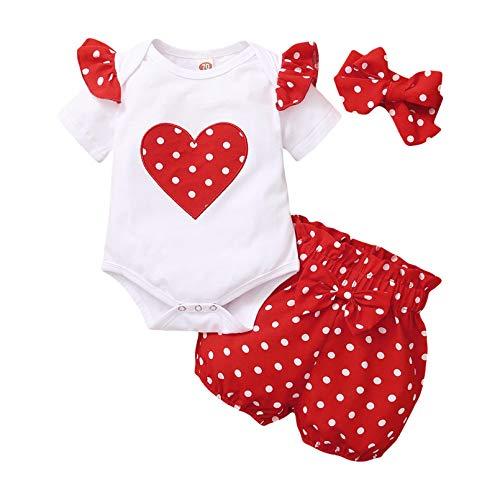 Ropa Bebé Niña Recién Nacido,Mameluco con Estampado de Letras de Manga Corta + Pantalones +Diadema 3 Piezas Conjuntos de Ropa para Bebés (F, 3-6 Meses)