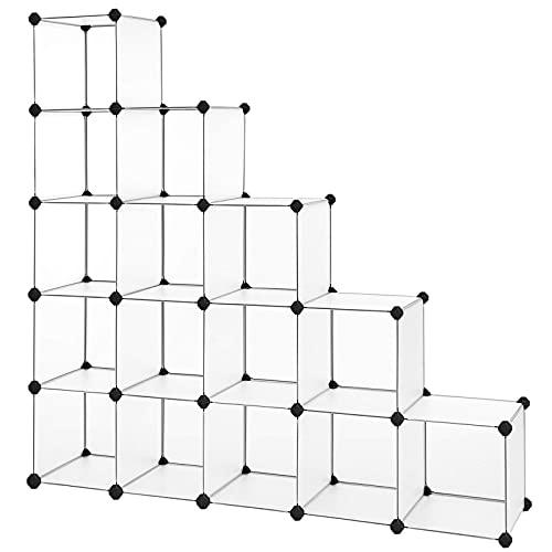 SONGMICS Armario modular zapatero estantería organizador plástico, Blanco LPC44L